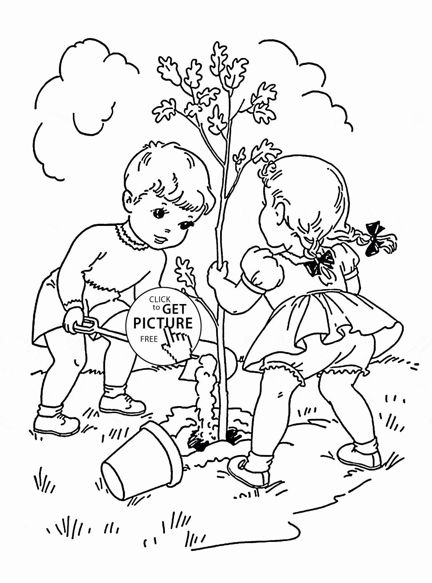 Printable Tree Coloring Page Unique Children Plant Tree