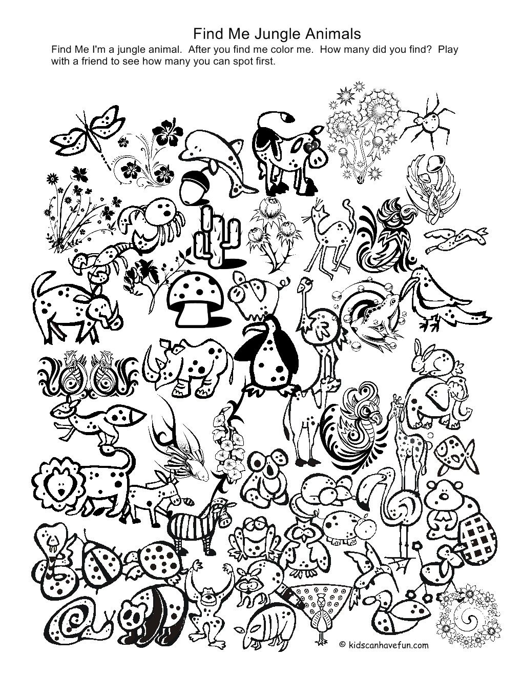 printable coloring pages of animals in the jungle things to paint i spy games preschool. Black Bedroom Furniture Sets. Home Design Ideas