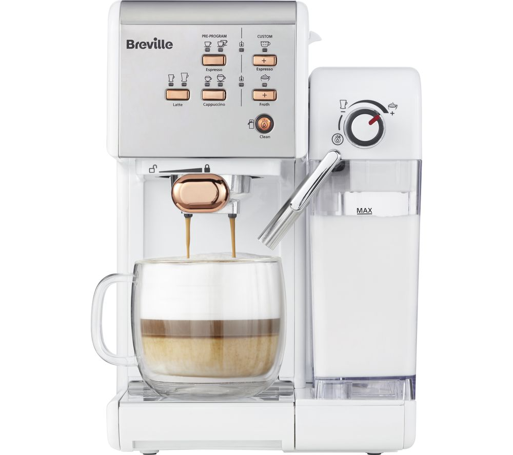 Breville One Touch Vcf108 Coffee Machine White Rose Gold Fast Delivery Currysie In 2020 Coffee Maker With Grinder Coffee Machine Breville Espresso Machine
