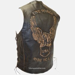 MENS Eagle Embossed LIVE TO RIDE Black RIDEX LEATHER Vest WAISTCOAT All Sizes