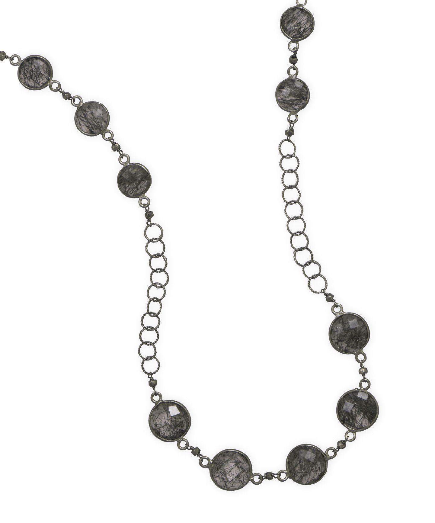 Rhodium Rutilated Quartz Necklace