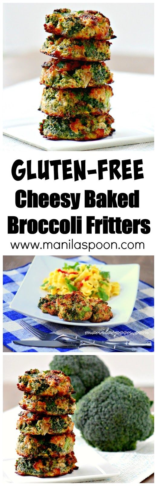 Crunchy, healthy, low-carb and completely gluten-free are these delicious Cheesy Baked Broccoli Fritters!  #cheesy #baked #broccoli #fritters #gluten #free #low #carb