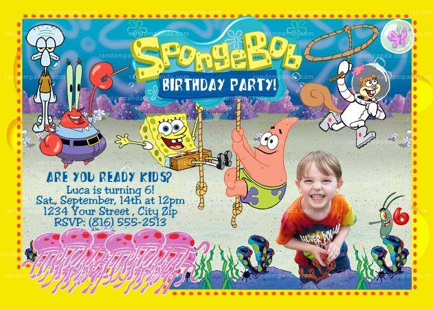 Personalize Spongebob Squarepants Invitation Patrick Birthday Party
