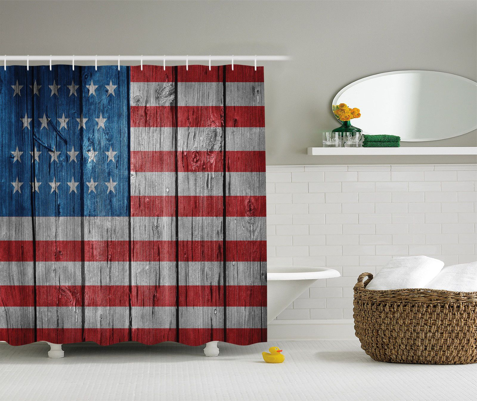 Usa American Flag Retro Pattern Bathroom Polyester Fabric Shower Curtain