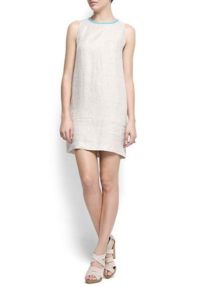 Straight-cut linen dress