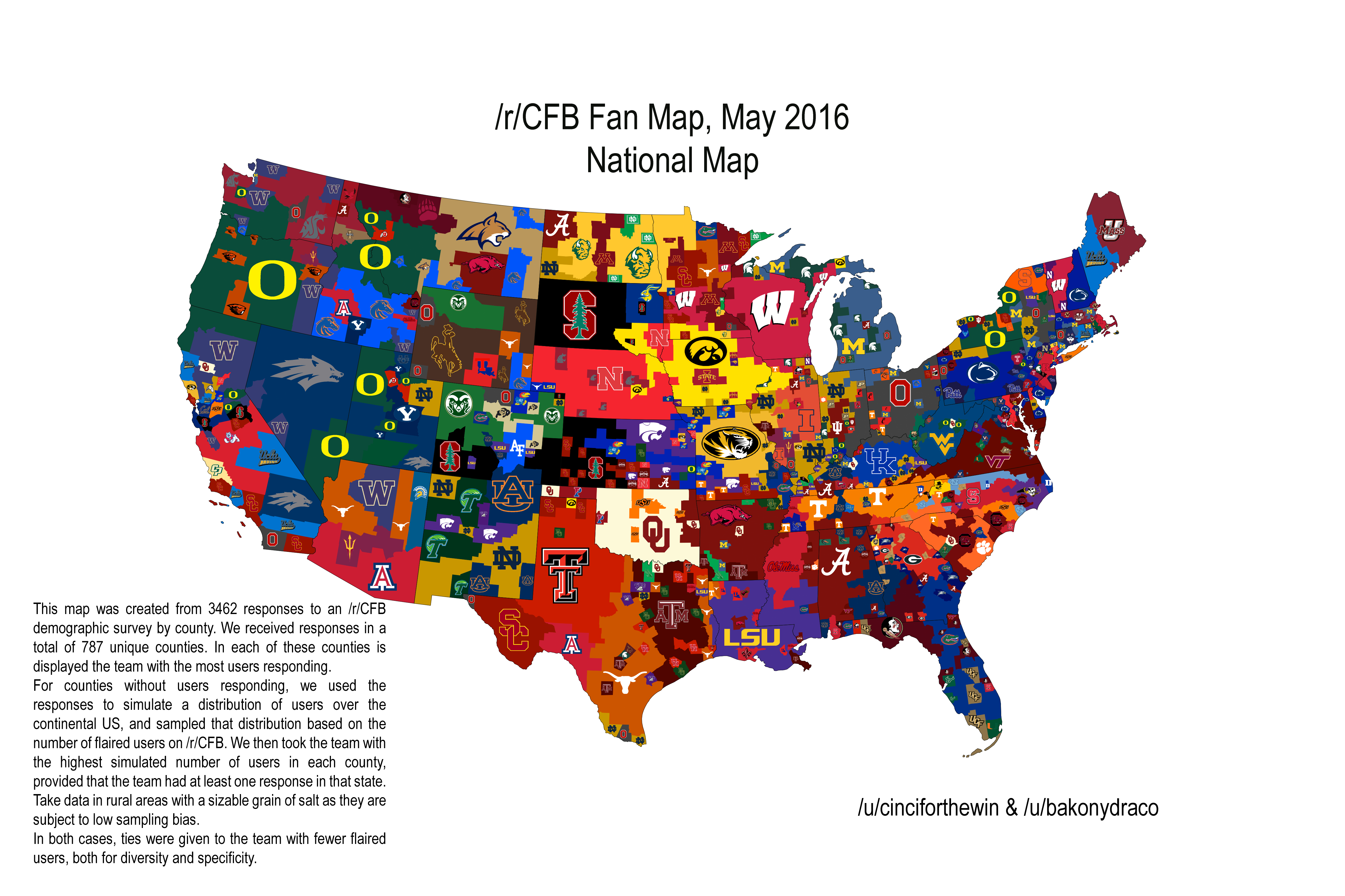 Map Illustrating College Football Fandom In The US Published By - Map of us sports teams
