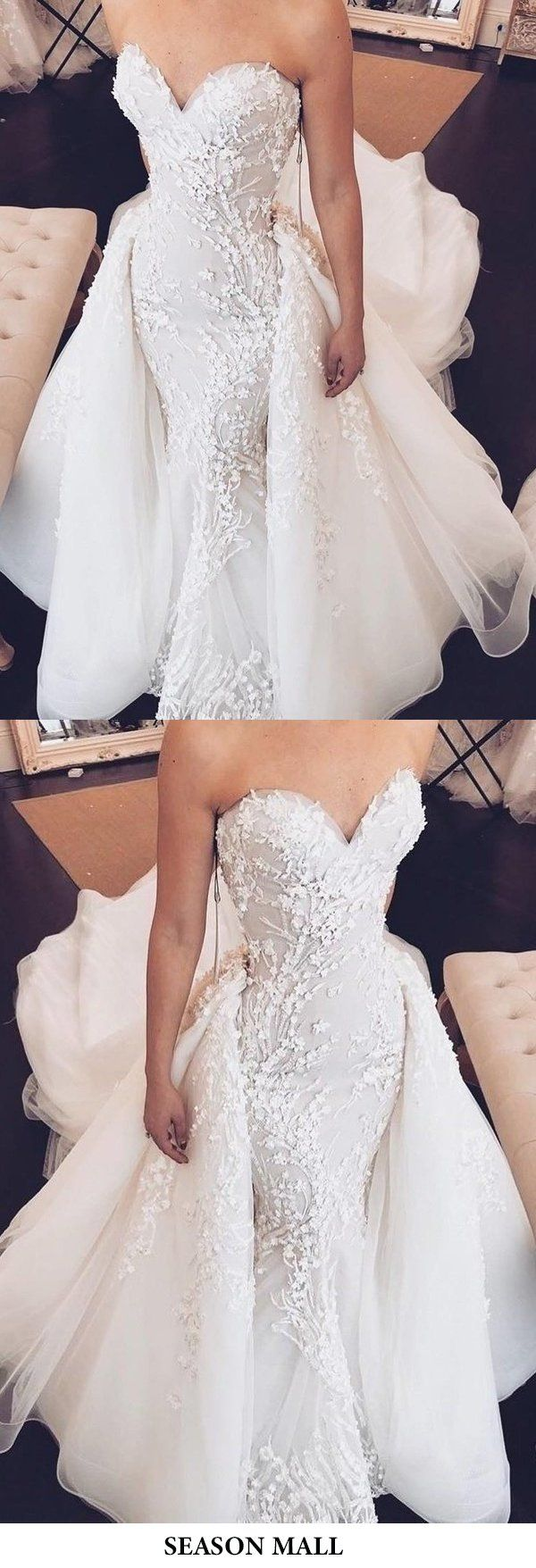 Sweetheart Mermaid Strapless Lace Appliques Wedding Dress