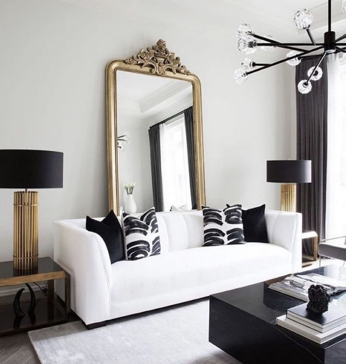 Restoration Hardware Style Living Room Decor With White Sofa And Big Mirror Gold Living Room Living Room White Black And White Living Room