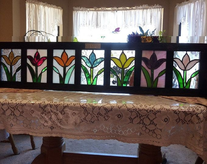 Window boxtulips on parade stained glass flower