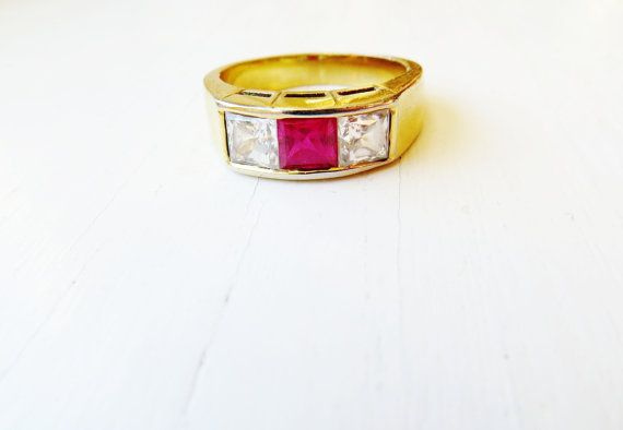 Vintage Gold Ruby Band Ring Rhinestone by IfindUseekVintage, $28.50