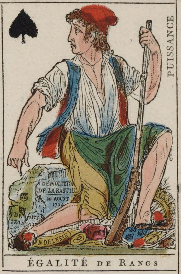 French Revolution Playing Card Issued 1793 Jack Of Spades Becomes