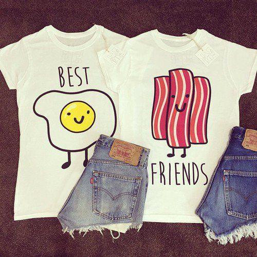 7f2f9a46e7a63d Blusas para mejores amigas de tocino y huevos Camisas Para Amigas, Manos  Amigas, Camisetas