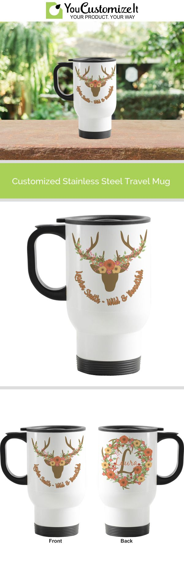 Floral Antler Stainless Steel Travel Mug with Handle in