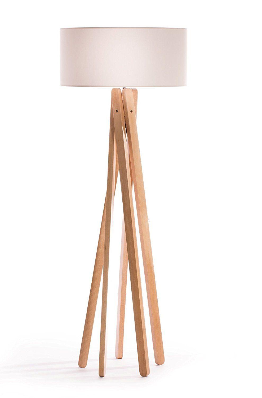 Luxus Design Stehlampe Tripod Mit Hochwertigem Stoffschirm In Weiss