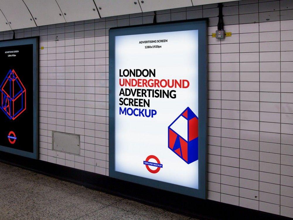 London Subway Advertising Display Mockup Mockupworld London Underground Poster Mockup Subway Poster
