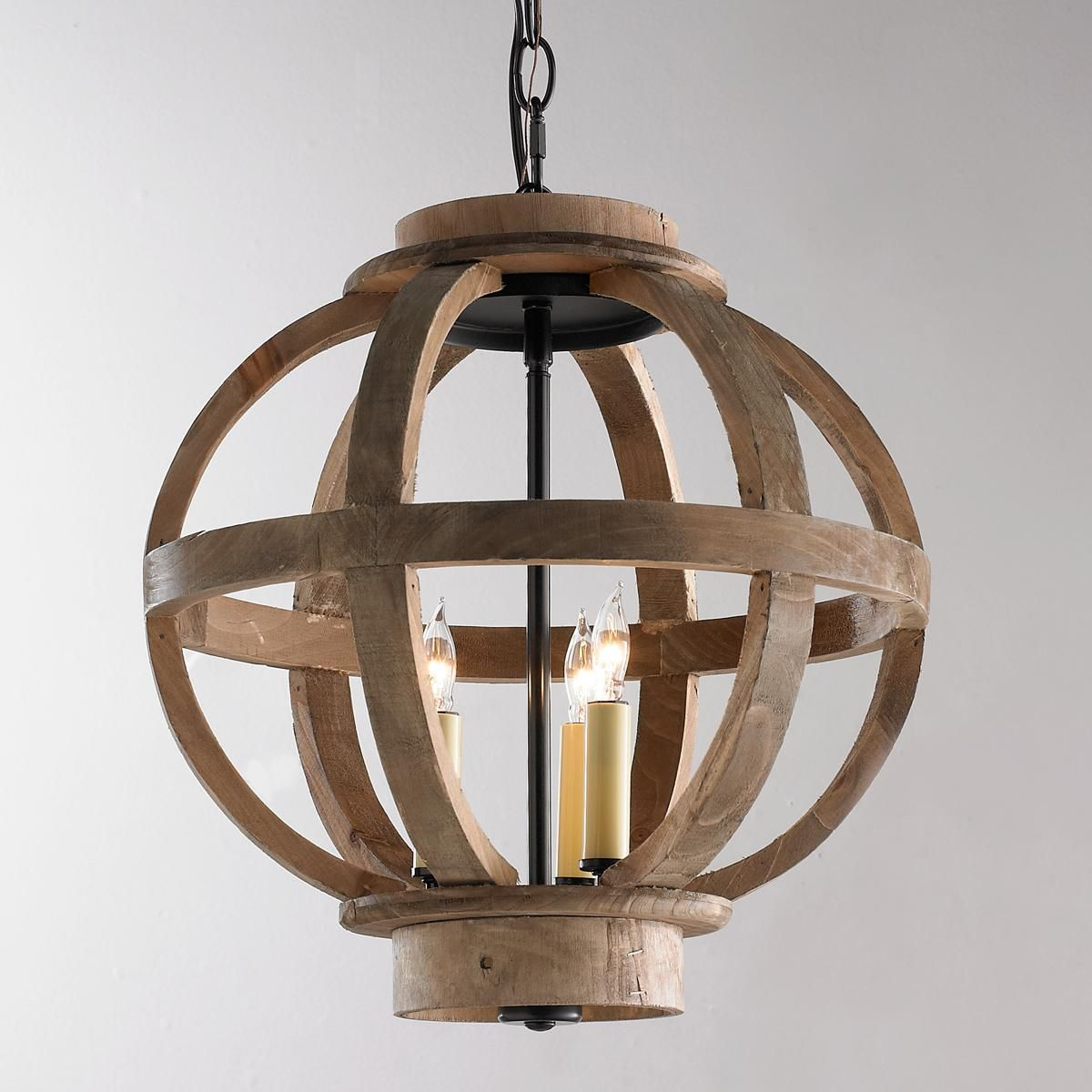 Mini Wood Globe Lantern Rustic Pendant Lighting Small