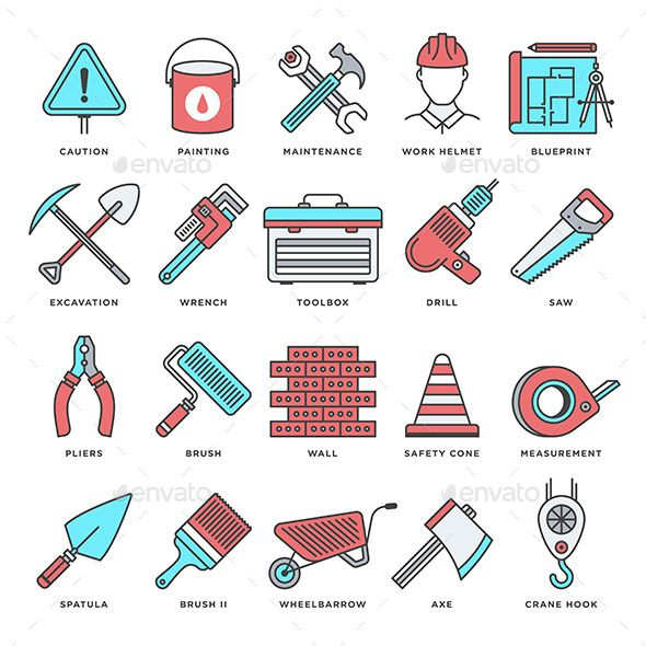 Abstract Vector Set Of Line Color Icons For Construction And