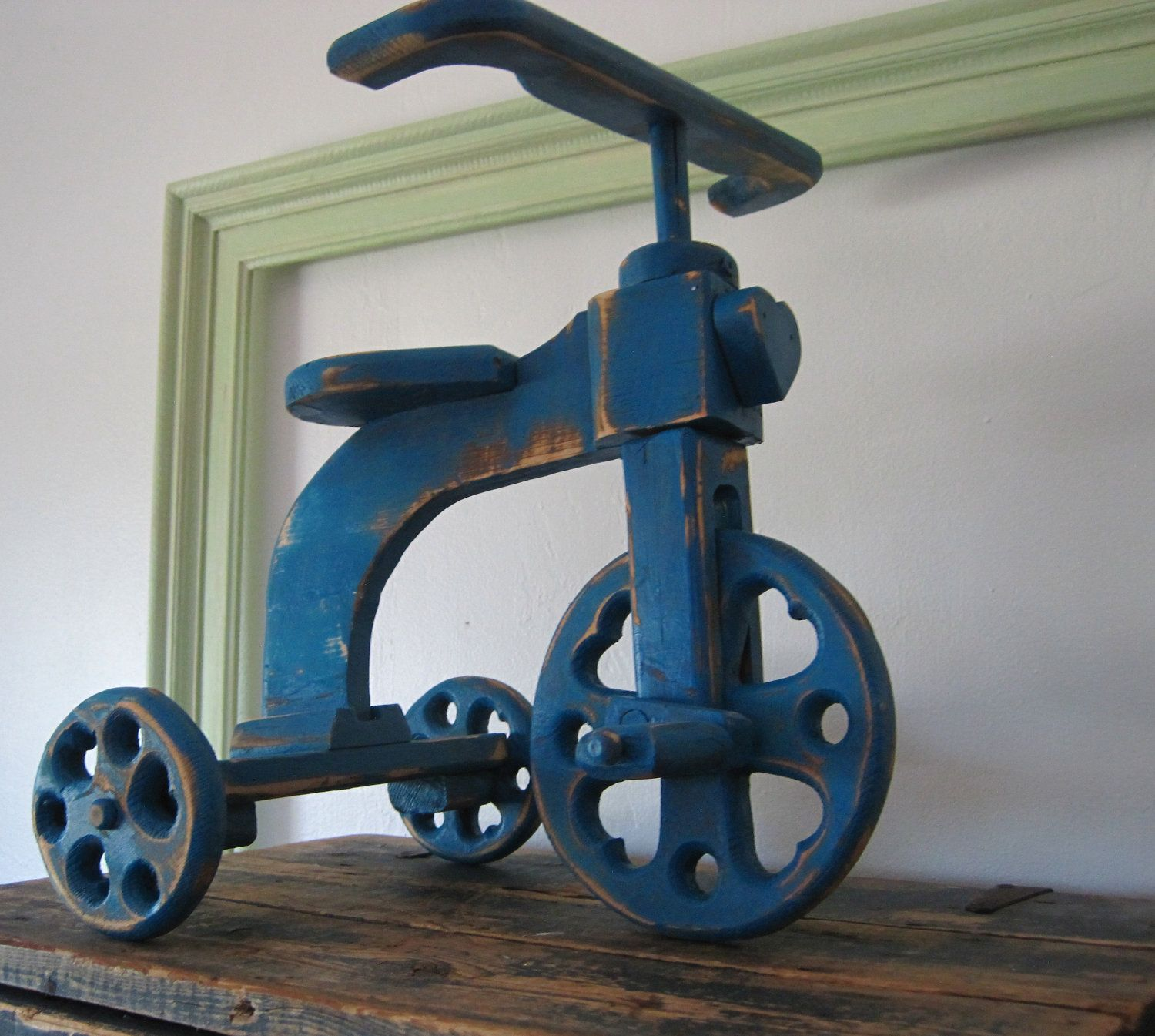 Rustic Wooden Tricycle Upped In Teal
