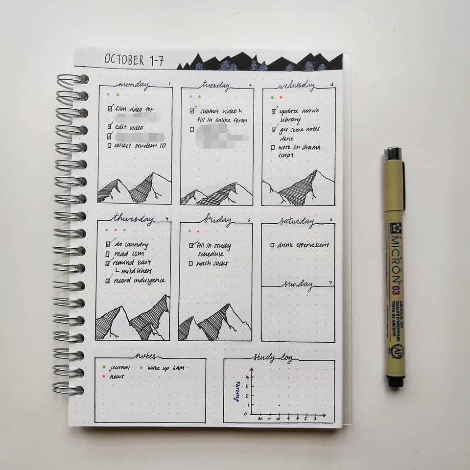 Full 'daily with habit tracker' page bujo Habit