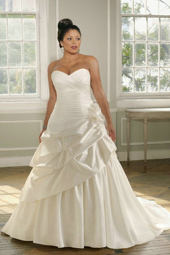 A Line Pleated Ruching Satin Flower Sweetheart Pick Ups Plus Size ...
