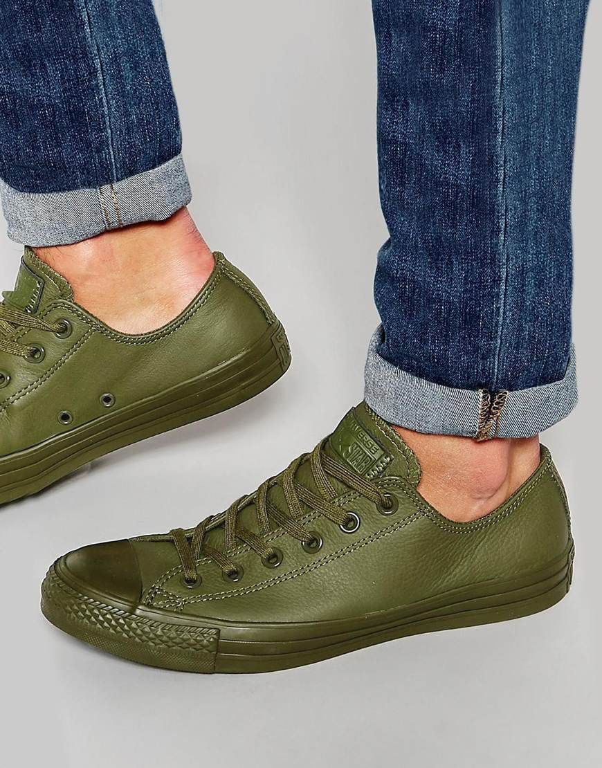 dacf7babd025 Converse+Chuck+Taylor+All+Star+Mono+Leather+Plimsolls+In+Green+151106C