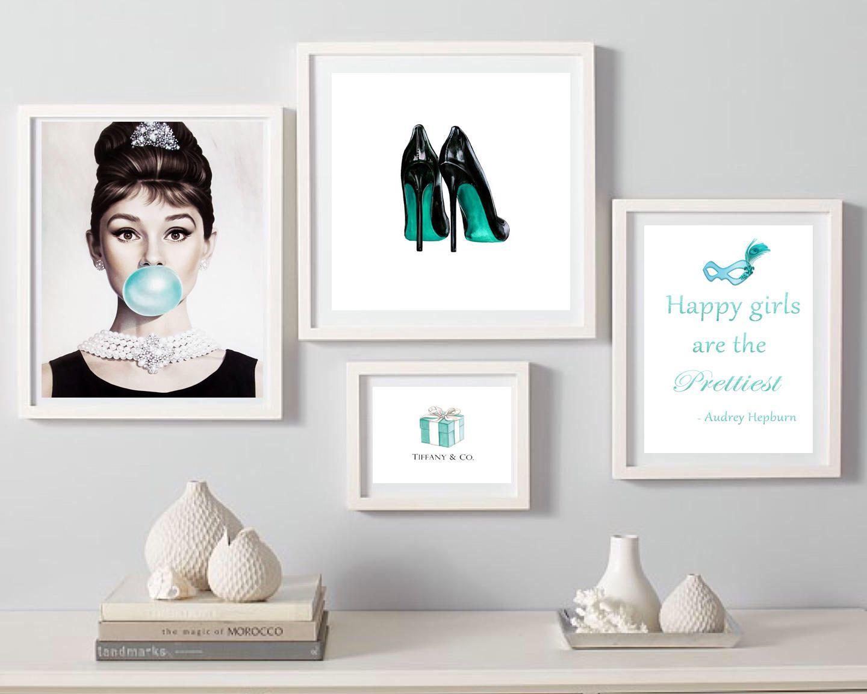 714c828789dc Audrey Hepburn Breakfast at Tiffany s Digital Download sparkle quote bubble  gum print heels fashion Wall art