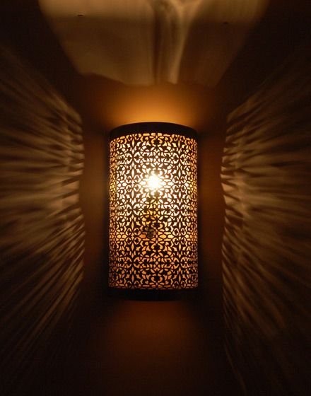 Antique Brass Moroccan Wall Light - More Info Luke@e2lighting.co.uk