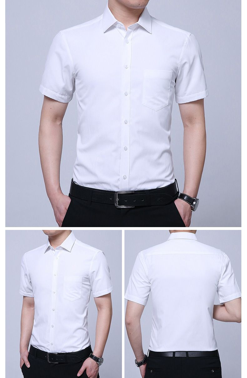 Mens Non Iron Business Short Sleeve Summer White Dress Shirt Men