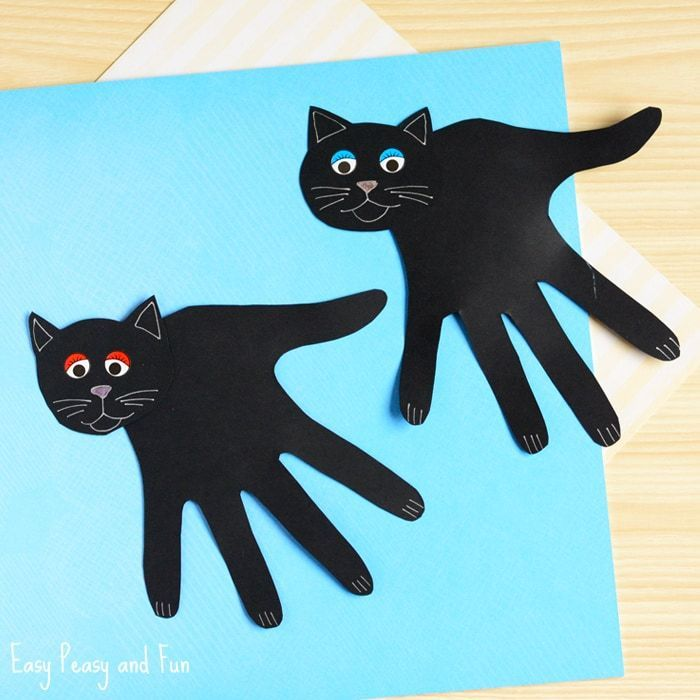 Handprint Black Cat Craft