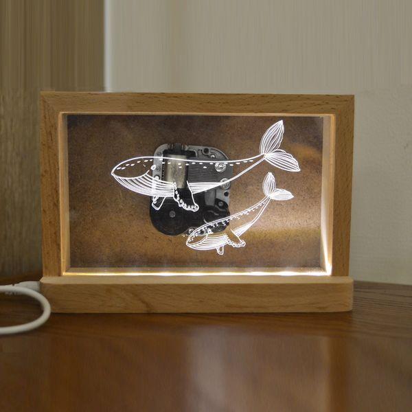 北欧式宜家实木八音盒3D夜灯LED音乐盒台灯照片墙鲸鱼相框