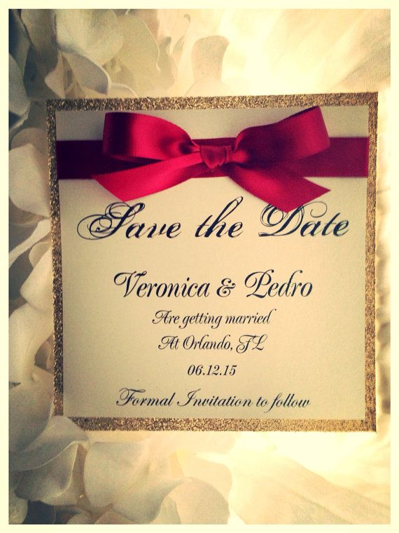 Red and Gold Save the Date Gold Wedding Save the by VPElegance ...