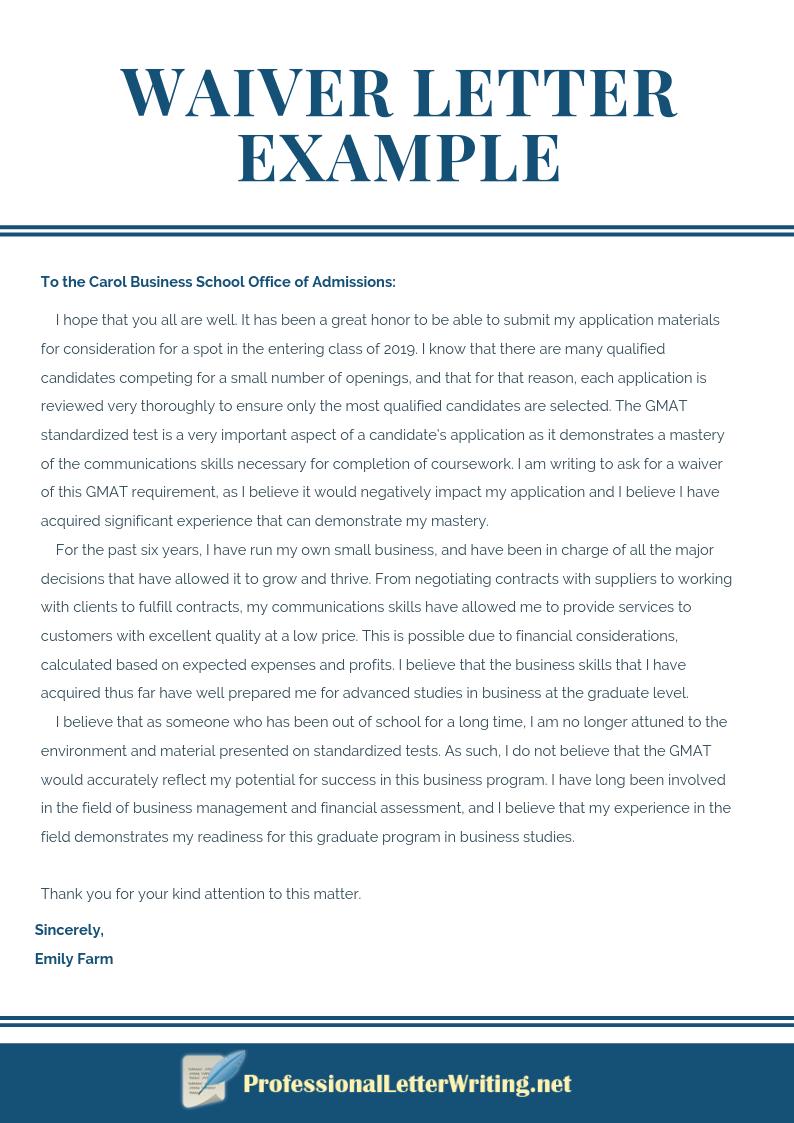 Professional Waiver Letter Example Letter Writing Samples Lettering Good Leadership Skills