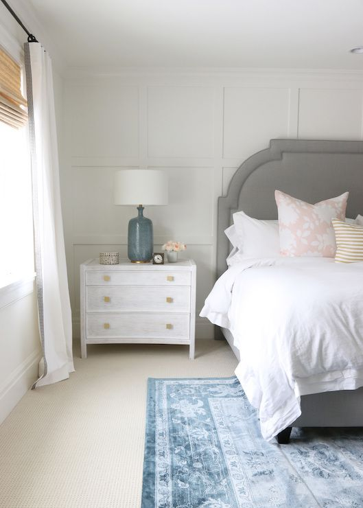Board And Batten Accent Wall Transitional Bedroom Benjamin Moore Simply White