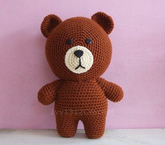 Brown Bear Handmade Amigurumi Crochet Teddy Bear Home