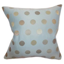 Down pillow in blue with golden polka dots.   Product: PillowConstruction Material: PolyesterColor: Light blue and goldFeatures:  Made in the USAInsert includedHidden zipper for easy removal and cleaning Dimensions: 18 x 18Cleaning and Care: Spot clean recommended