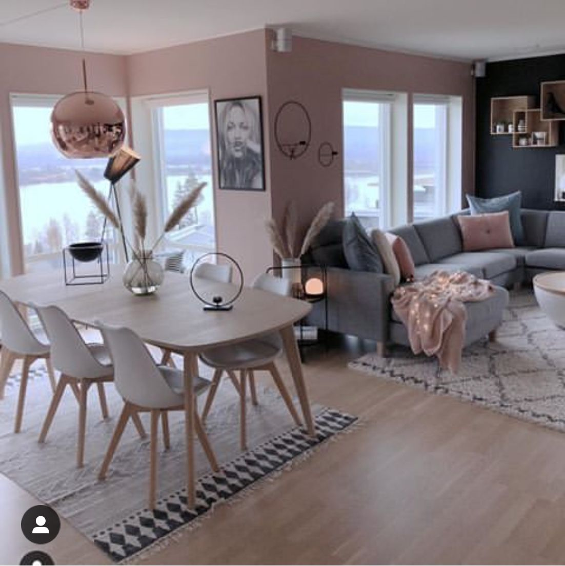 Pink And Gray Living And Dining Room Dining Room Interiors