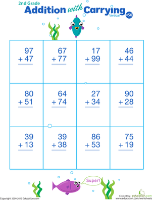 Second Grade Addition Worksheets: Double Digits! Practice Vertical Addition with Carrying 50