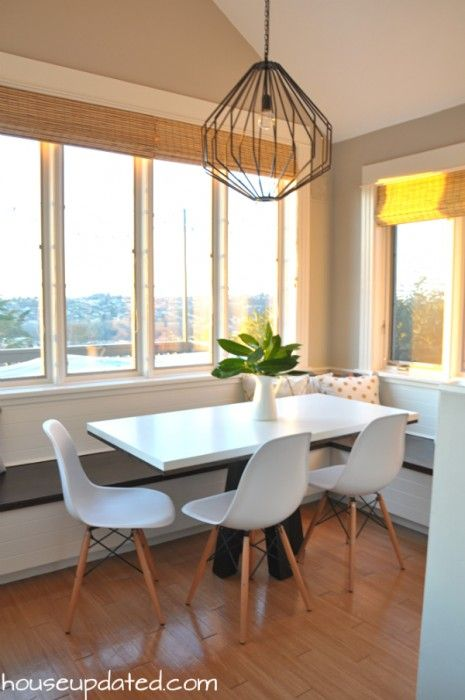 Breakfast Nook Crate And Barrel Union Pendant White Modern Eames Style Chairs From Overstock Pedestal Dining TableDining