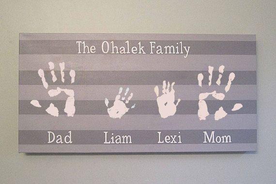 Any color stripe family handprint or footprint family canvas keepsake 12x24 by snowflowerarts - Stammbaum basteln mit kindern ...