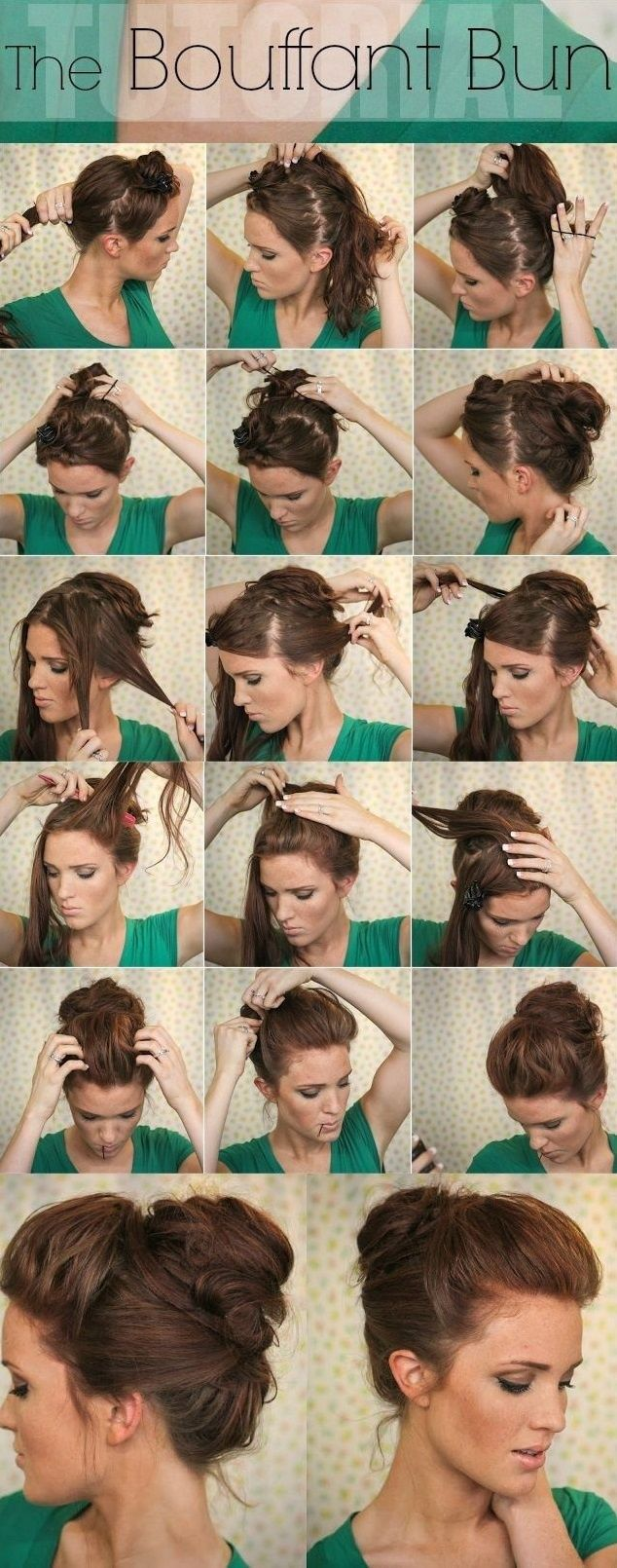 The bouffant bun hairstyle tutorial fashion pinterest