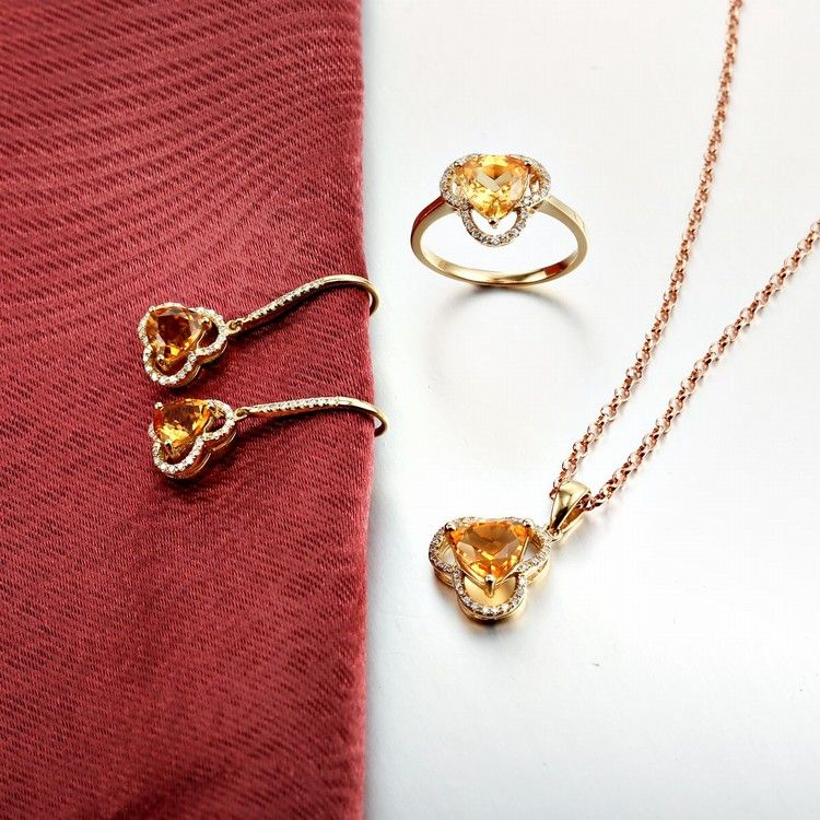 100% Original Brand 18K Solid Yellow Gold Diamond Citrine Jewelry Set