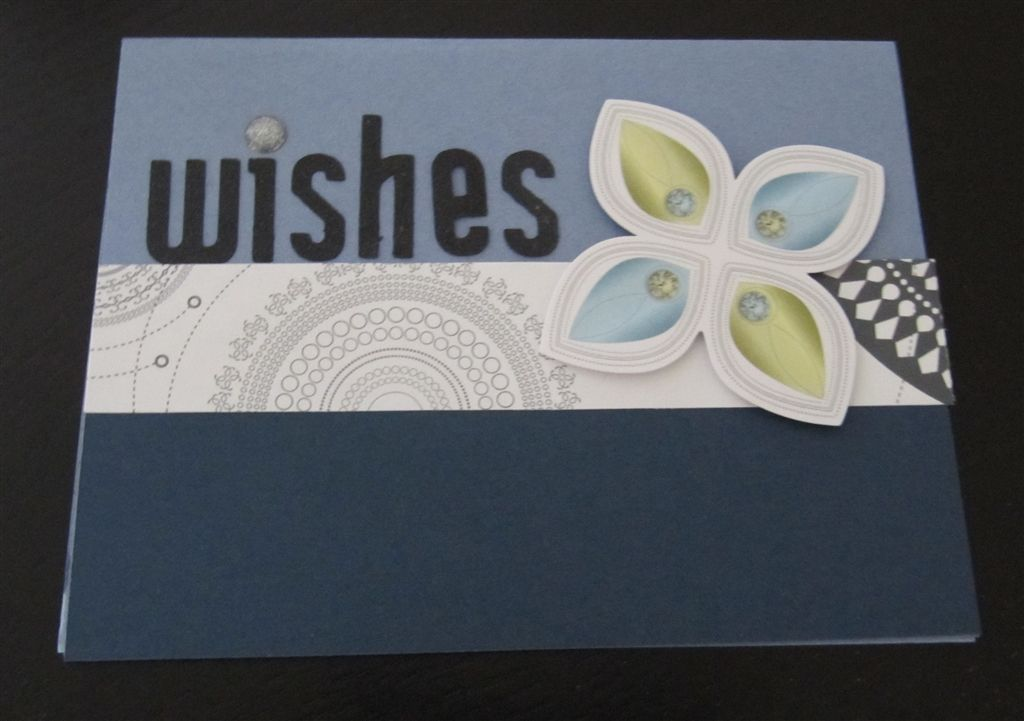 "A card I designed, using the new Creative Memories Shine products.  ""Wishes"" was  cut out with my cricut."