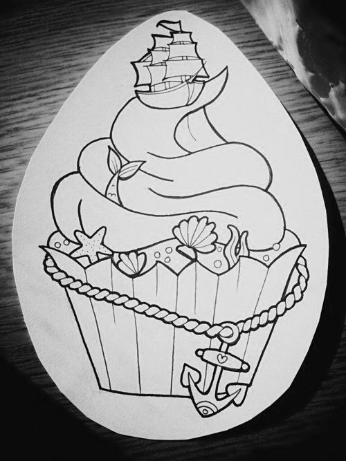 Nautical Cupcake Tattoo for my arm! Two of my favorite things!! The ocean and cupcakes :) I love this!