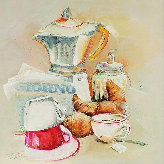 Elizabeth Espin Giorno Leinwand-Bild 20x20 Wandbild Küche Cafe - wandbilder für küche