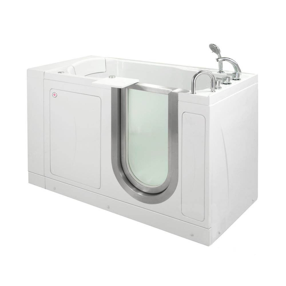 Ella Petite 52 In Acrylic Walk In Air Bath Bathtub In White With