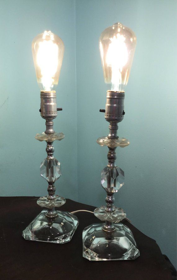 Vintage Pair of Lamps, Vintage Crystal Lamps, Faceted Lamps ...
