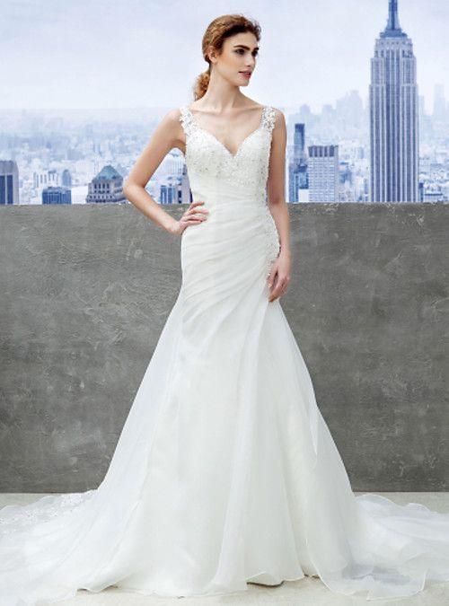 Trompeta / Sirena Con Tirantes Capilla Organza Vestido de novia con ...