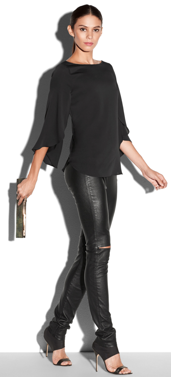 MILLY Stretch Silk Crepe Butterfly Blouse and Leather Slit Knee Pant #millyholiday #millymoment