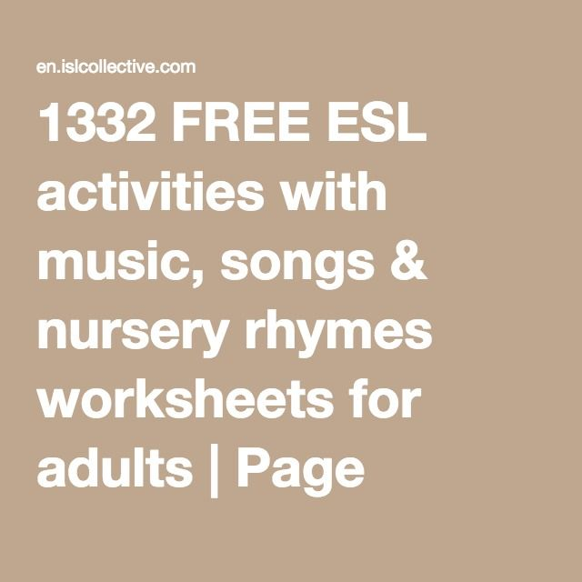 1332 Free Esl Activities With Music Songs Nursery Rhymes