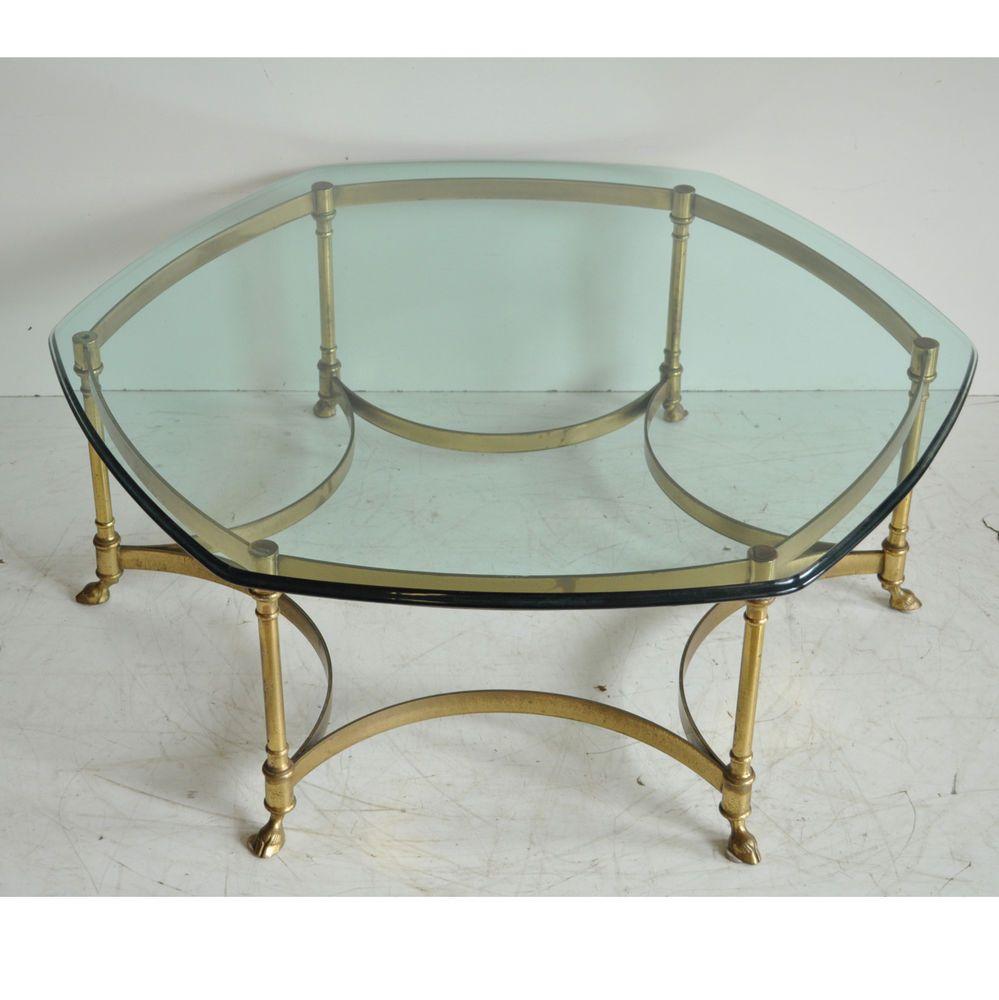 Vintage Labarge Brass Hoof Foot Hollywood Regency Hexagonal Glass Coffee Table Coffee Table Glass Top Coffee Table Antique Table [ 1000 x 999 Pixel ]